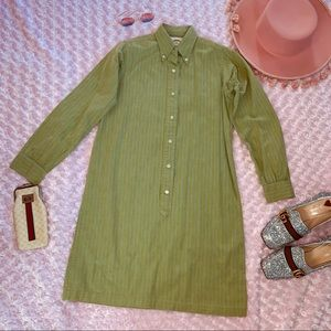 Vtg 70s Striped Button Down Shirt Dress XS SM